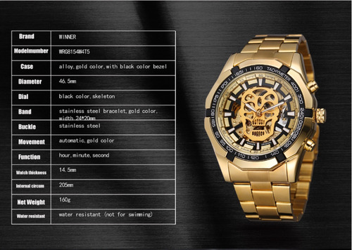 hombre skeleton reloj