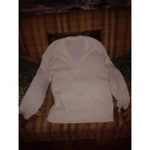 Sweater Blanco De La Ligua Talla L Tejido Delgado