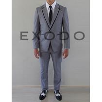 Terno Gris, Diseño En Solapa, Blazer, Pantalon, Nuevo S