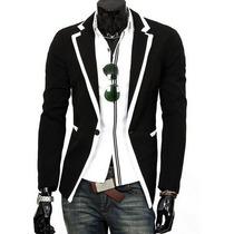 Blazer Importado Retro, Negro Detalle Blancos, Vintage, M