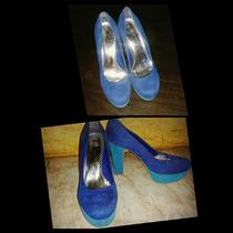 Zapatos Azules De Plataforma