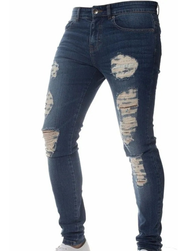 hombres flaco tramo fit ripped dril jeans