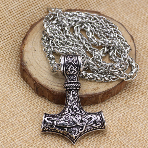 hombres hechos a mano viking collar retro nórdico amuleto