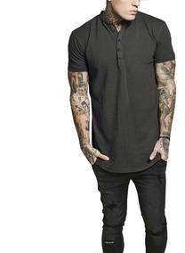 Henley Pullover Camisetas Cómodo Verano Botón T Hombres jL35ScRq4A
