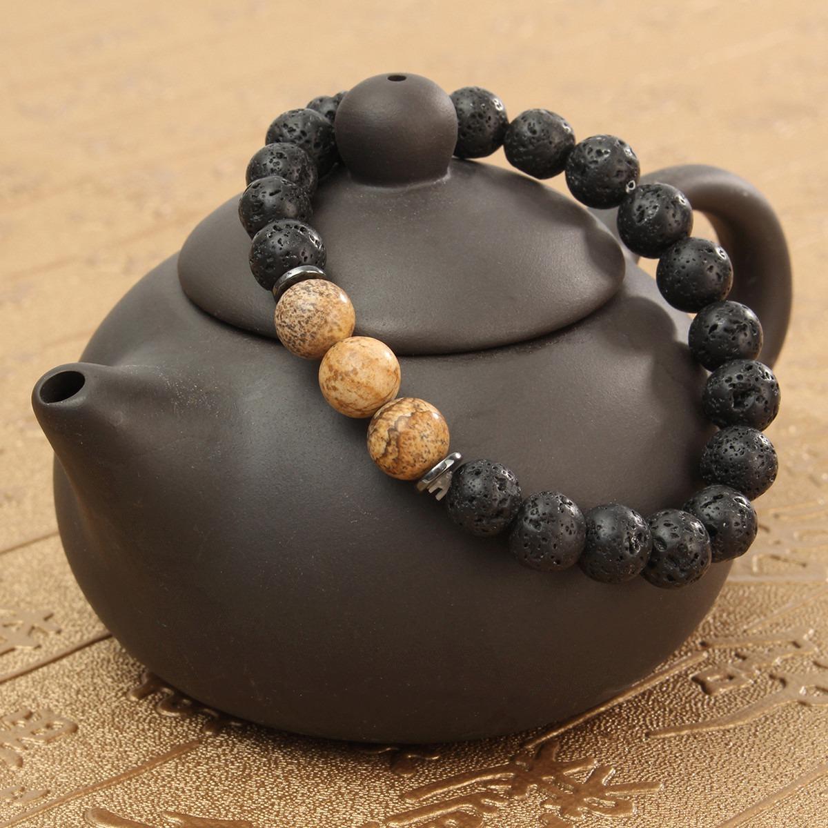 Hombre de Mujer 8mm Negro Roca de Lava Piedra Yoga Mala con Cuentas Charm Cadena