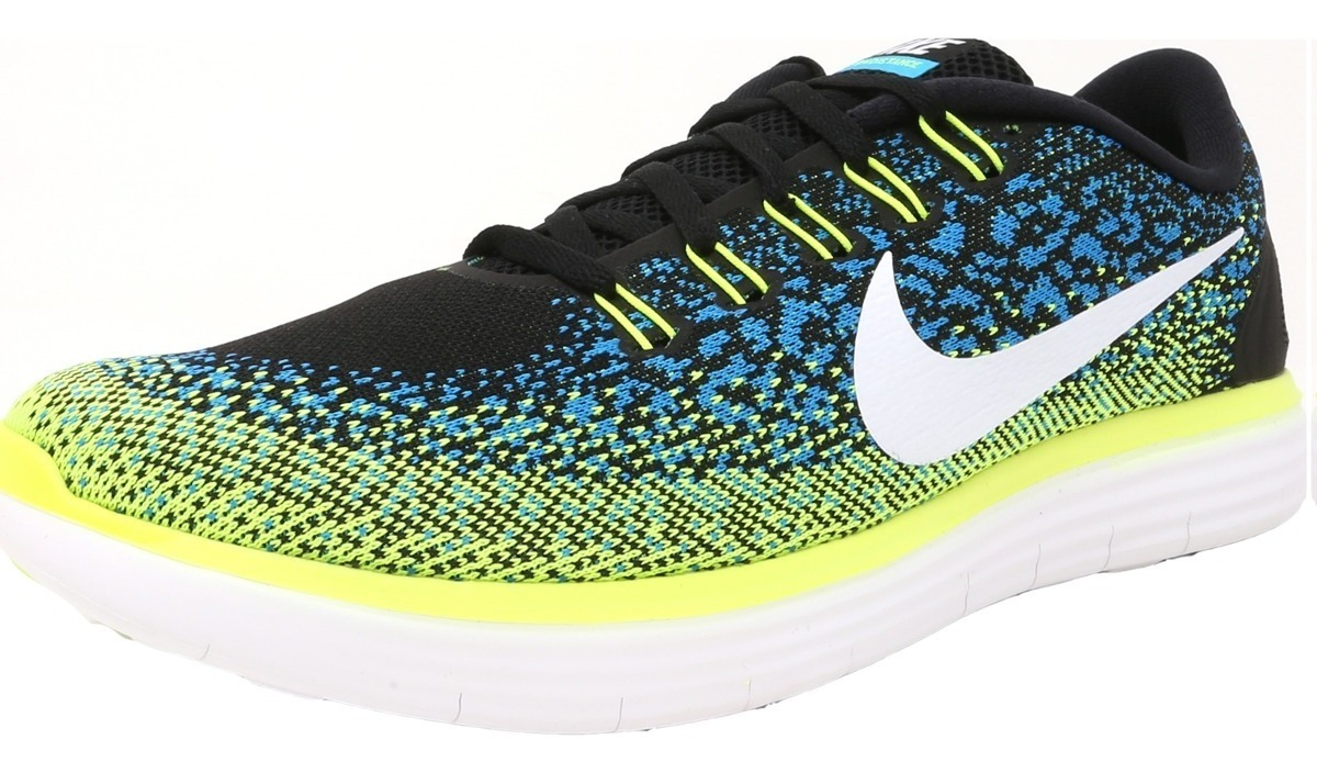 Hombres Nike Free Rn Distancia Negro Blanco blue Lagoon Vo