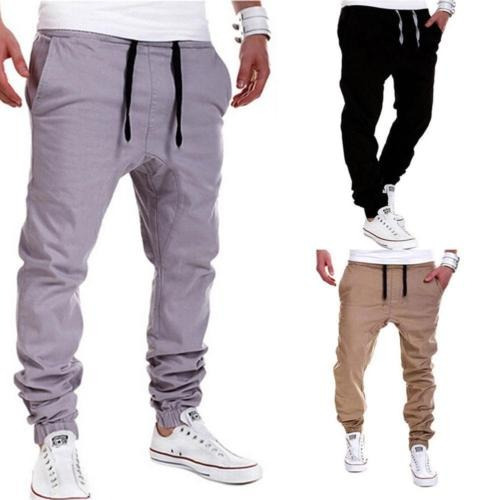 hombres pantalones pantalón harén... (khaki, 2xl)