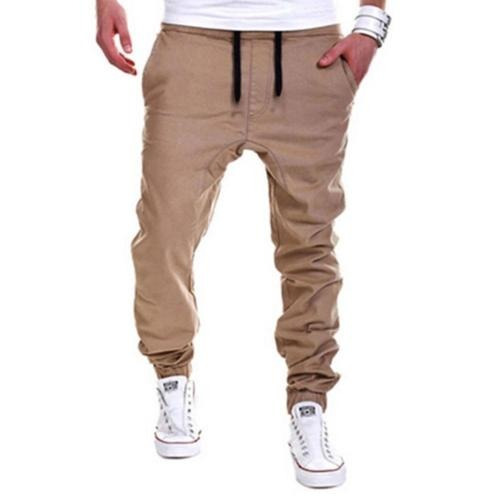 hombres pantalones pantalón harén pantalones... (khaki, l)