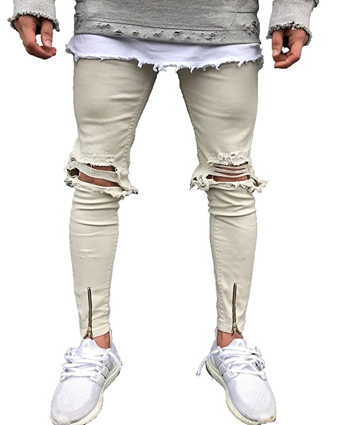 Hombres  s Hiphops Rodilla Agujero Tramo Dril Pantalones -   9.780 ... 97a38ffd038
