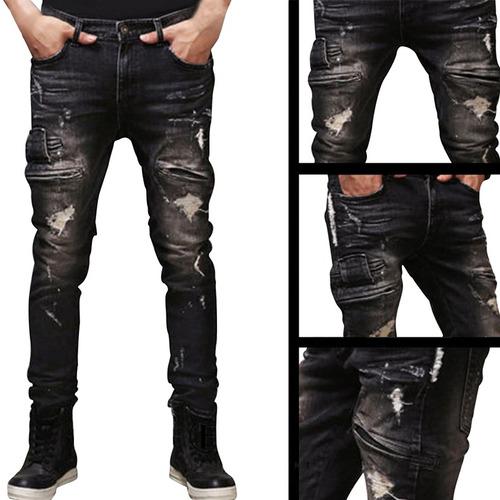 hombres 's ripped jeans delgado fit pantalones de la motocic