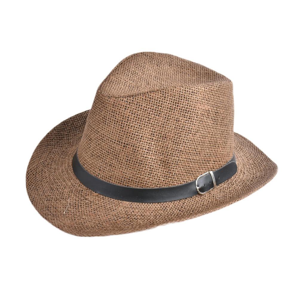 Hombres  s Sombrero Nuevo Verano Hombres Paja Sombrero Caqui ... a59345e1c0d