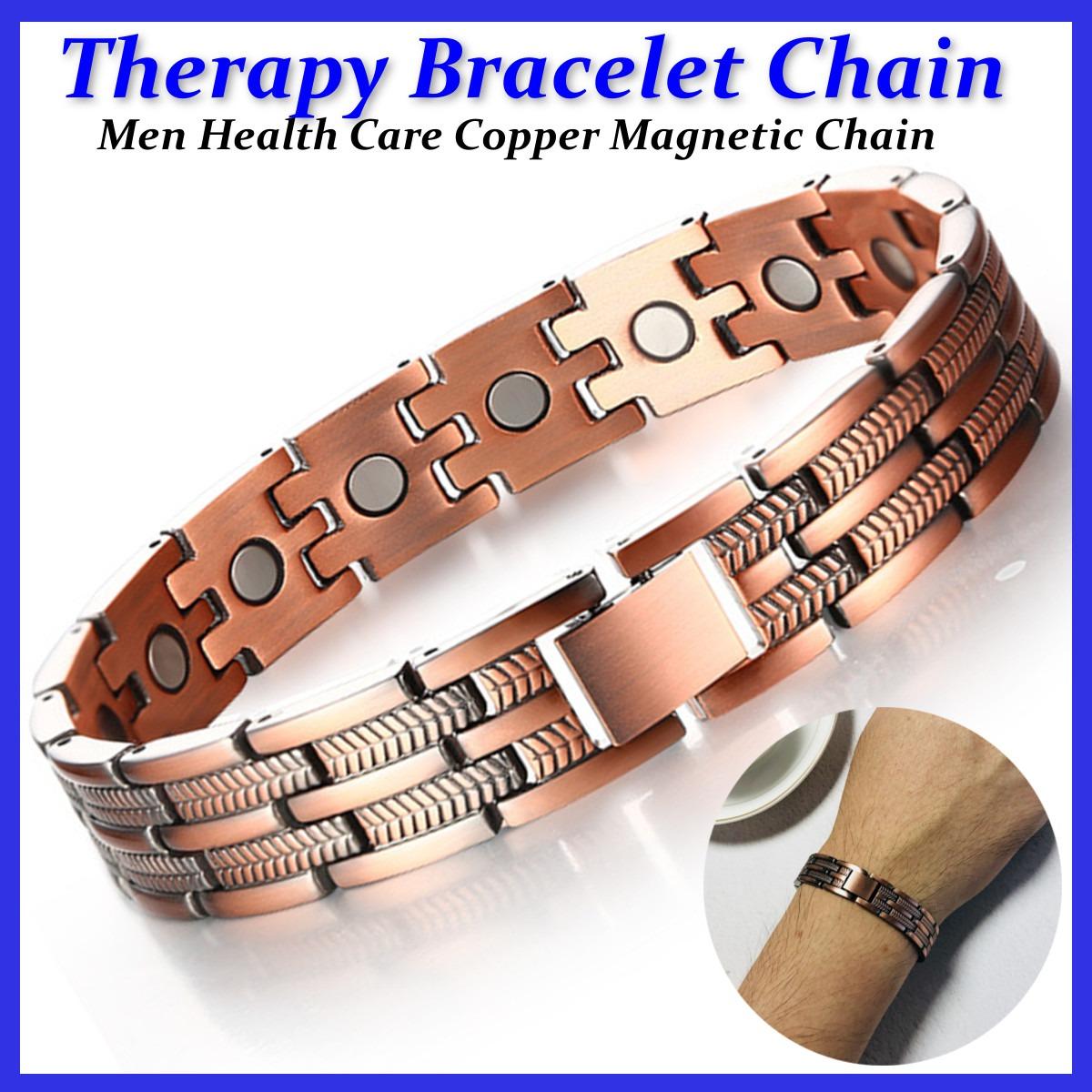 3fe88459f8a7 Hombres Saludable Cobre Pulsera Terapia Magnético Artritis A