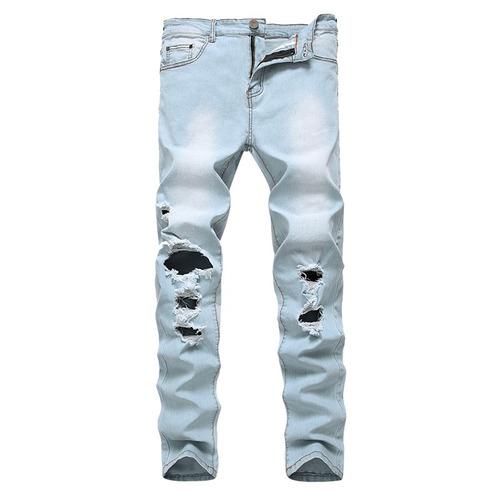 hombres slim fit stretch denim skinny jeans con retención
