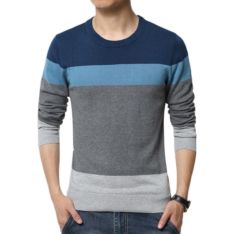 Hombres Suéter O-cuello De Rayas Slim Fit Tejido De Punto - $ 9.157 ...
