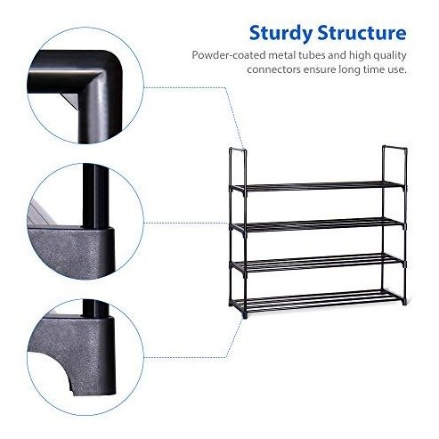 "20 Pairs Shoes Organizer Closet for Home /& Office Anti-Rust,Easy to Assemble Black HOME BI 4 Tier Shoe Rack No Tools Required,35.6/""W x 12.0/"" D x 33.27/""H"