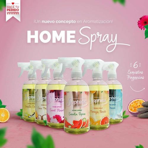 home spray aromatizador ambiente y ropa 500ml saphirus
