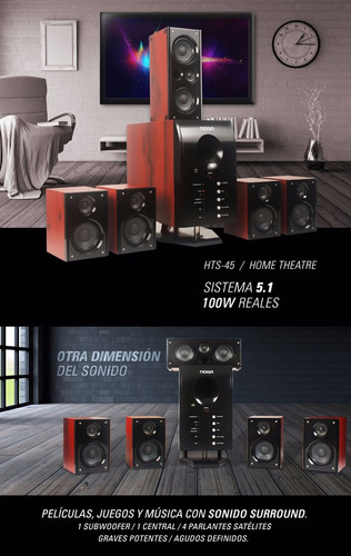 home teatro 5.1 100w reales lector usb sd cyber days tope