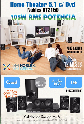 home theater 5.1 noblex ht2150 dvd hdmi usb hdmi radio am fm