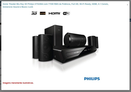 home theater blu ray 3d philips hts 3564/78 770w rms surroun