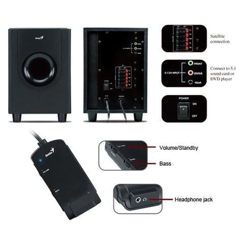 home theater genius sw-5.1-1800 watt c/adap. 2.1 c/new r-$90
