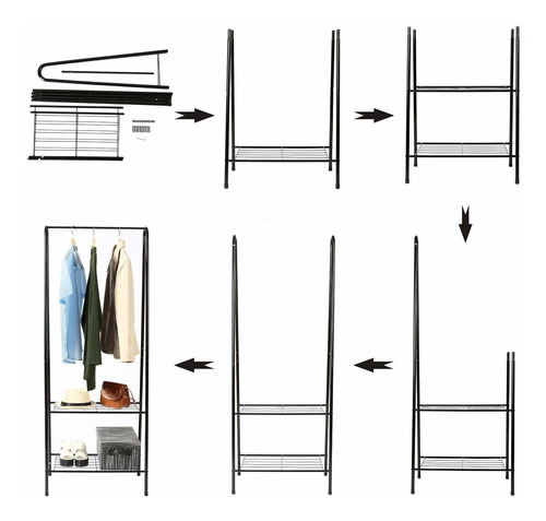 homebi - perchero de metal para ropa, organizador de ro