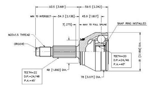homocineticas (2) kit fiat duna - uno - fior. estrías 22/20