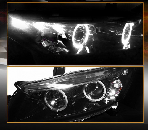 honda accord coupe 2008 - 2012 juego faros con ojo de angel