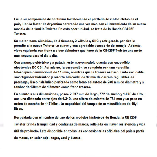 honda cb 125 18cta$9.482 motoroma (cg 150 titan cg150 190)