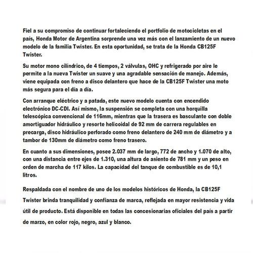honda cb 125 consultar contado twister 12 cta $5981 motoroma