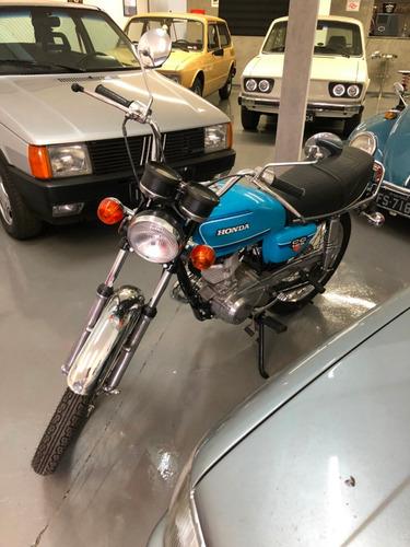 honda cg 125 placa preta impecável 1980 azul 1600km rodados