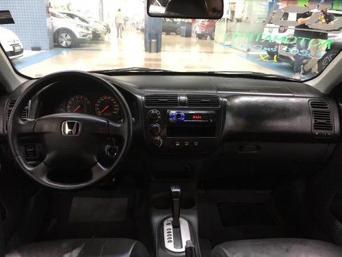 honda civic lx automático 1.7 2005 cinza 4 portas