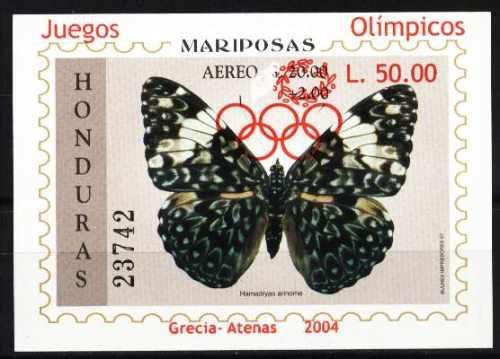 honduras 2004 - mariposa, juegos olimpicos atenas - bloque