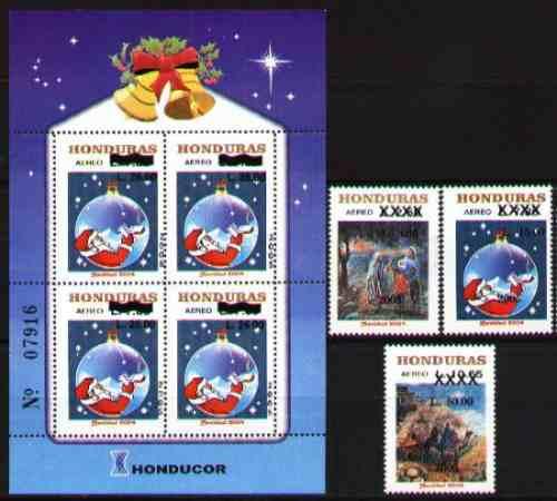 honduras 2005 - navidad - 3 estampillas + hojita bloque