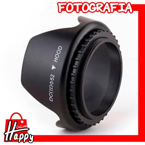 hood - parasol tipo pétalo 52mm canon/nikon/pentax/sony