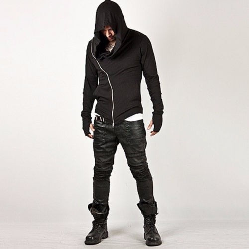 hoodie slim fit cierre diagonal casual  minimalstore