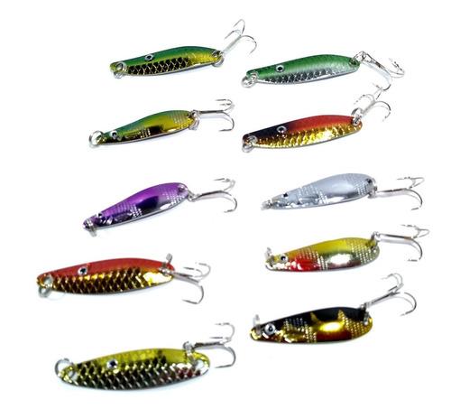 hopemob 10 cucharillas anzuelos señuelo minnow con anzuelo para pesca rio mar laguna trucha lucio pesca con mosca