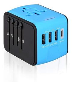 Hopemob Adaptador De Viaje 4 Puertos Usb Multicontactos Cargador Enchufe  Universal Todo En Uno Telefonos Laptop
