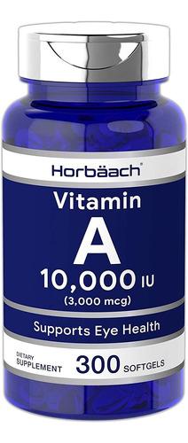 horbaach vitamina a 10000 ui (300 cápsulas blandas)   suplem