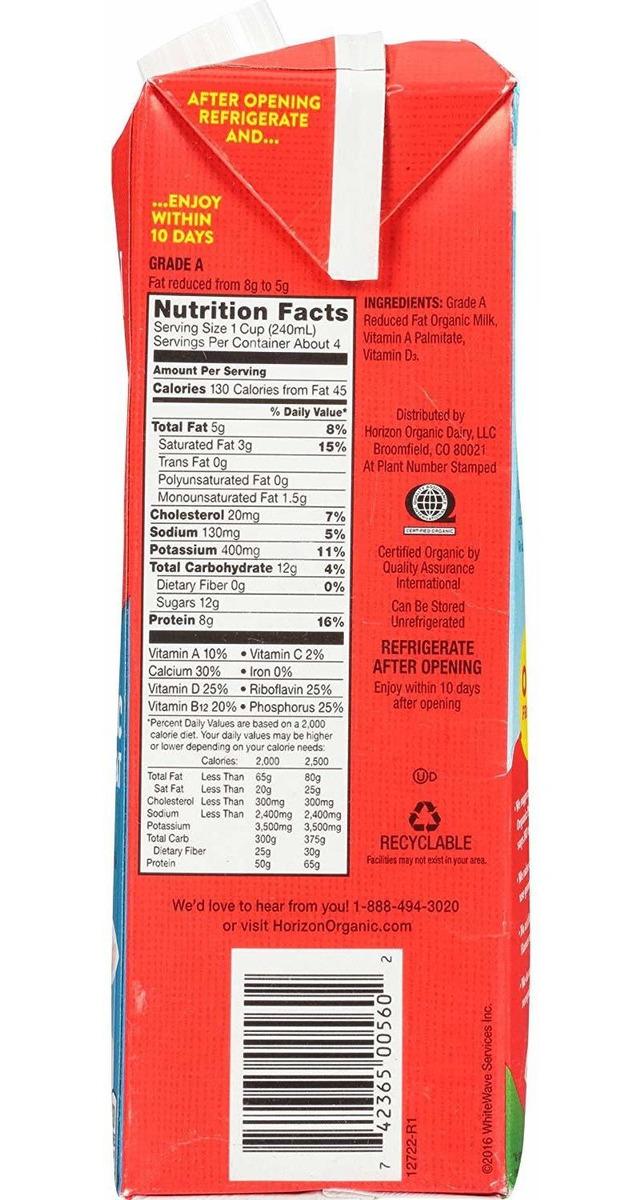Horizon Organic, 2% De Grasa Reducido