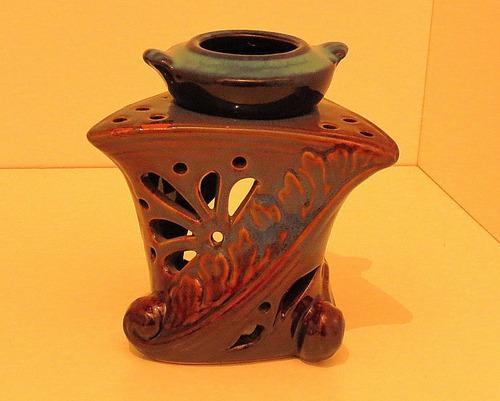 hornito art decó para escencias. cerámica esmaltada