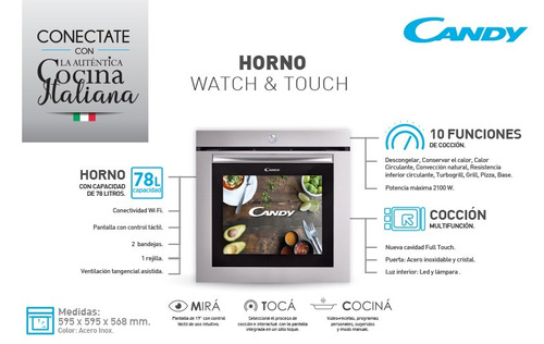 horno candy watch & touch 78 lts. pantalla touch electrico
