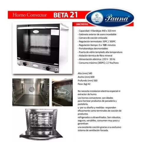 horno convector electrico pauna beta 21 para bandeja 44x32