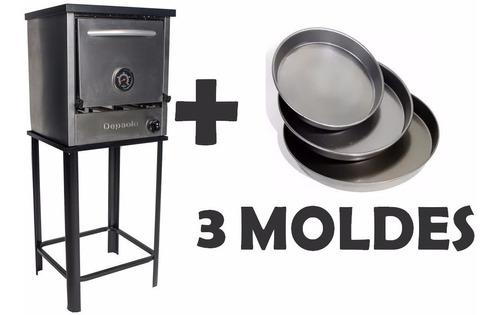 horno depaolo pizzero 3 moldes ac inox + 3 moldes de regalo