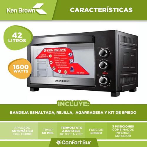 horno eléctrico 42l ken brown tk4200 kit de spiedo + env *4