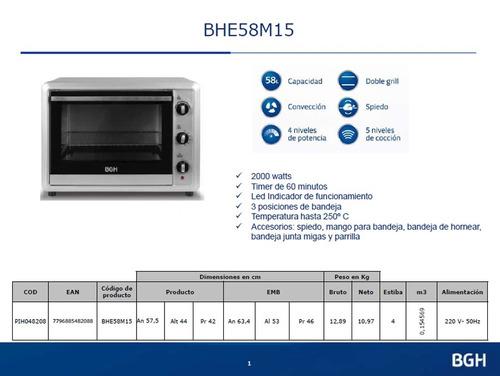 horno eléctrico con spiedo bgh bhe58m15 58 litros