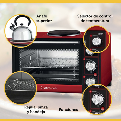 horno electrico ultracomb uc-28a con anafe grill 28lts