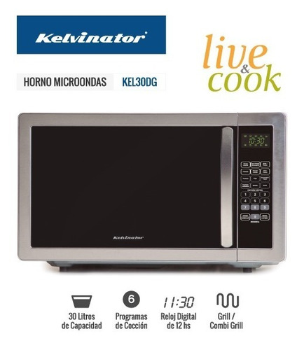 horno microondas kelvinator 30 lts digital grill kel30dg cuo
