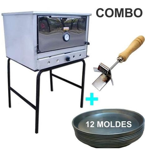 horno pizzero 12 moldes fte acero inox.+ moldes + gancho