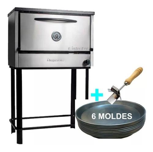 horno pizzero 6 moldes depaolo acero inox + moldes + gancho