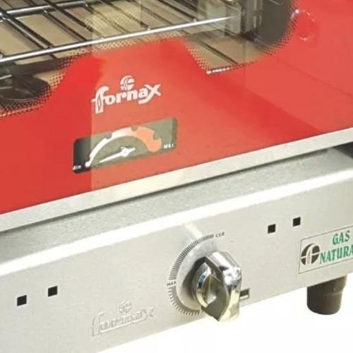 horno pizzero 6 moldes fornax anata rojo visor acero